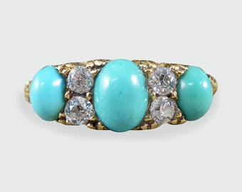 Late Victorian Turquoise and Diamond Ring in 18ct Gold - RG394