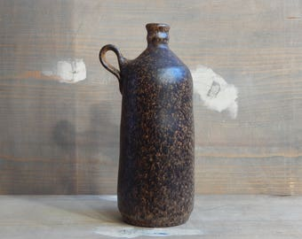 Scandinavian Vintage Rustic Ceramic Bottle Vase Made in Denmark