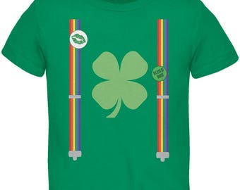 St. Patricks Day - Rainbow Suspenders Kelly Green Toddler T-Shirt
