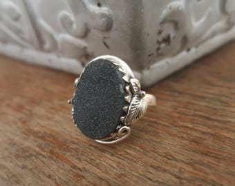 Sterling Silver Black Druzy Ring Gemstone Ring Size 8