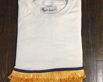 Blank WHITE T-Shirt with Fringe Options