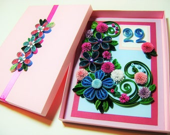 22th quilled birthday cards,Quilled flowers card,Quilled creations card,Quilling greeting cards,Paper quilling cards,Paper birthday cards