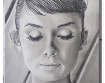 pencil portrait graphite Audrey Hepburn pensive ° ° ° °