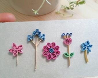 Loose paper wildflowers, botanicals / Handmade paper quilled flowers / DIY decor cardmaking scrapbooking paper embellishments / Paper Art