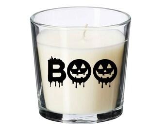 Halloween candle, halloween silhouette, glass candle, vanilla candle, home decor, halloween decor