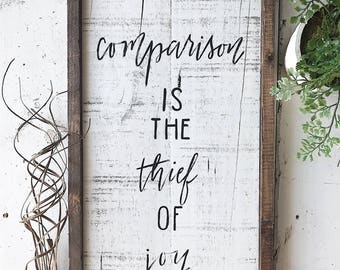Hand painted wooden comparison is the thief of joy pallet sign home decor