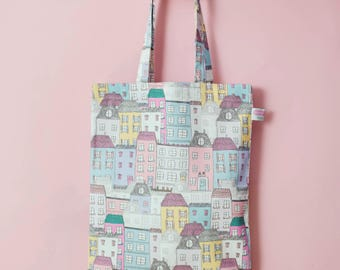 Town House Tote Bag...Fashion Bag..100% cotton shopping bag..Made in the UK... Illustrated by Corin Beth Design