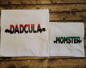 Dadcula and Momster Dad and Mom Halloween funny shirt set