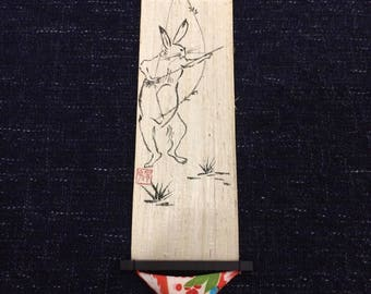 Japanese hanging banner scroll Chōjū-giga: A rabbit with a bow and arrow