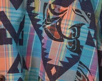 Vintage 80s 90s Ralph Lauren Polo aztec great print shirt bnwt