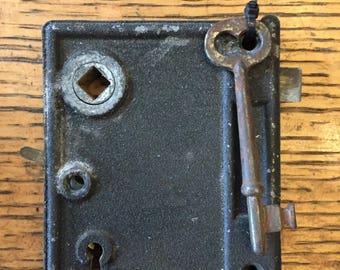 Antique steel interior box lock/rim lock with key