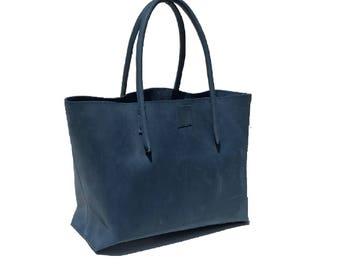 Blue large tote bags/leather bags / tote bags leather bag Ledershopper used look leather vintage design handmade
