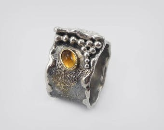 Silver ring with citrine in 585 Gold version