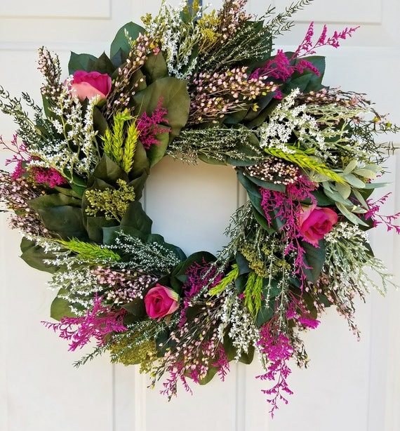 "18""wreath, preserved lemon leaf wreath, pink wreath, leaf wreath, dried wreath, salal wreath, preserved wreath, natural wreath,  wreath"