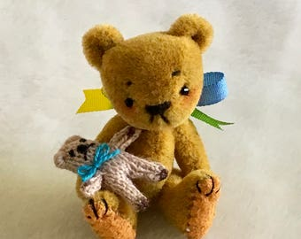 "2"" handmade Ooak collectors collectable miniature artist bear by Buff n Co Bears"