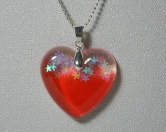 Two-tone red shimmering flowers Heart Necklace