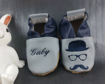 Soft booties leather and leatherette, baby, boy, girl, child, custom bezel, mustache, hat