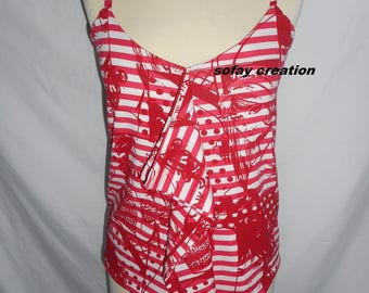 Red and white pattern tank BD