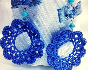 Denim Blue and turquoise Bohemian earrings