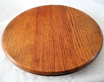 Oak Lazy Susan 2 Piece Great Wood Grain 1/2 In Lip Edge Table Centerpiece