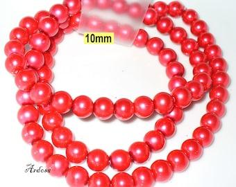 1 strand 82cm = 86 red glass beads 10 mm (810.21.1)