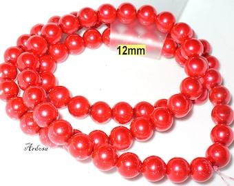 1 strand 82cm = 72 red glass beads 12 mm (812.21.1)