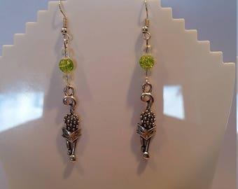 Hedgehog Charm Green Bead Dangle Earings