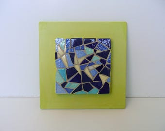 small blue green mosaic table