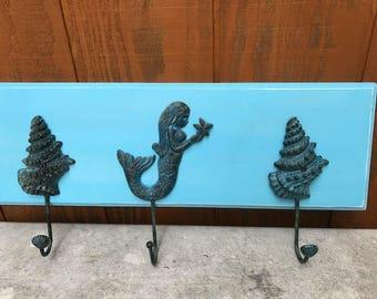 Beach hat rack, mermaid towel rack, coat rack, coastal rack, coastal decor, cast iron mermaid and shell hooks