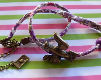 Liberty bracelet double turn adjustable Ribbon spaghetti floral bird and letter in antique bronze