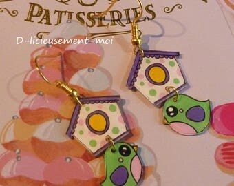Gold plated bird earrings Canary kawaii green and his crazy shrink plastic hand painted birdhouse