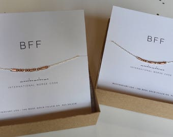 BFF Matching Choker Set / Best Friends Necklace Set / BFF Gift Set / 2 Choker Necklaces / Morse Code Silver and Rose Gold Filled