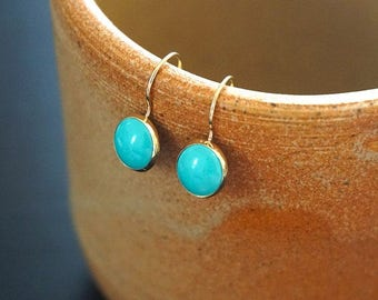 14K Gold Turquoise Earrings - 14K Gold Earrings - 14K Gold Drop earrings - Solid Gold Earrings - Turquoise Jewelry - Turquoise Drop Earrings