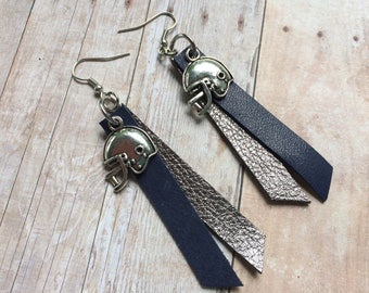 Gameday navy and gray leather earrings, football navy and grey earrings, football helmet earrings
