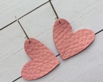 Heart earrings, pink heart earrings, Valentine earrings, leather heart earrings