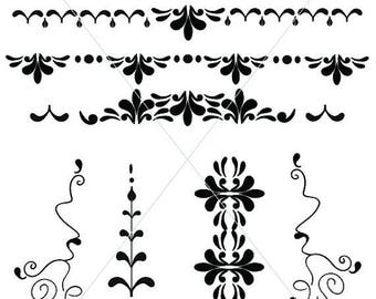 SVG Swirl Graphics, Victorian Underlines, Image JPG, Scrolls and Line Drawings, Divider Elements