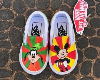 Mickey and Goofy Disney painted shoes
