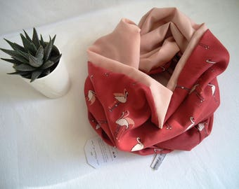 Choker 2 laps woman snood, scarf, neck coral flamingos and salmon pink, handmade for women and teens / gift idea