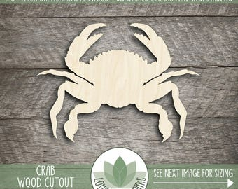 Wood Crab Laser Cut Shape, DIY Craft Supply, Sea Life Wood Shape, Beach House Decor, Laser Cut Wood Crab