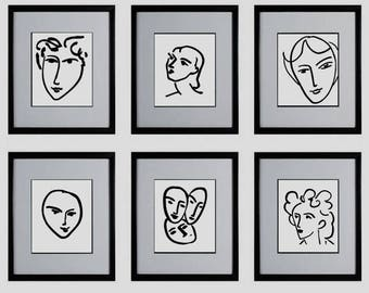 Woman Face Matisse Print Set of 6 Prints Black And White Line Drawing Posters Sketch Art Minimalist Art Downloadable Prints Wall Decoration