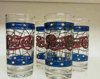 Set of 4 Vintage Pepsi Cola Stained Glass Tall Drinking Glasses
