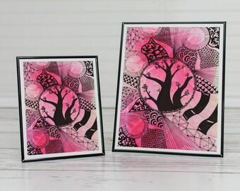 Boho Artwork, Zentangle Art,  Giclee Wall Art Prints, Zentangle Tree, Wall Art, Red Zentangle Art, Red Wall Decor, Bohemian giclee