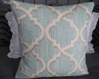 Lustrous Lattice Pillow Covers.Toss Pillows.Throw Pillows.Spring Pillows.Home Decor Pillows.Blues.Metallic Silver.Cream.Pillows.