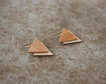 Earrings triangles wood