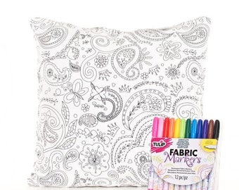 SALE ENDS SOON Black and White Pillows, Paisley Pillow Cover, Fabric Markers, Color Me Pillow Cover, Mom and Daughter Activity, Includes Mar