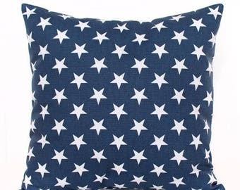 SALE ENDS SOON Navy Stars Pillow Cover, Star Throw Pillow, Patriotic, White Stars, Cushion Cover, Boys Room Decor, Baby Boy, Nursery Pillow