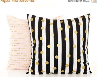SALE ENDS SOON Pink and Gold Arrow Pillow Cover, Black and Gold Pillow, Black and White Stripes, Gold Polka Dot Cushion Covers, Metallic Gol