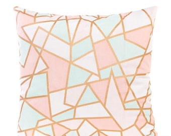 SALE ENDS SOON Pink and Gold Geometric Print Pillowcase, Mint Green, Pink, Gold, Baby Bedding, Pink Nursery Decor