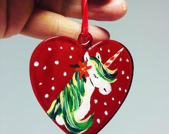 Unicorn Christmas  bauble, glass bauble, glass heart bauble, christmas tree decoration