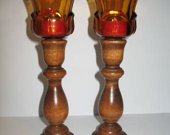 Amber Glass and Wood Candle Holders